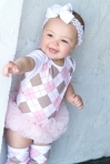 pink and brown argyle tutu onesie